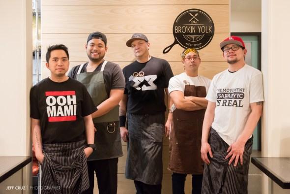 Chefs L to R: John Nidua of Oohmami, Jeffrey Lazaro Carlos of Bro'Kin Yolk, Jay del Corro of Eats of Asia, Allan Pineda of Baon Manila Nights and Saturnino (Sonny) Ong Jr. of Oohmami.