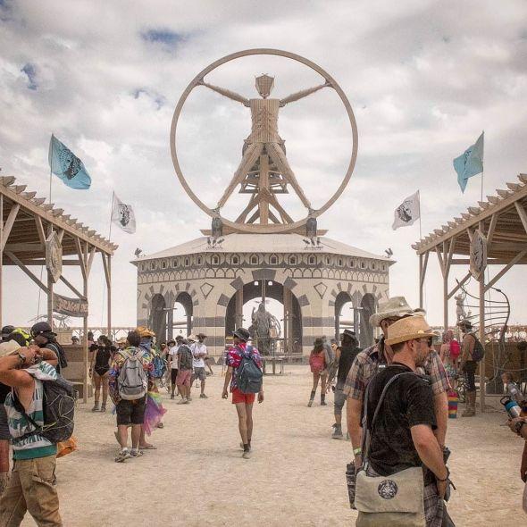 The Burning Man 2016 theme was da Vinci's Workshop and so the Man was modeled after da Vinci's Vitruvian Man