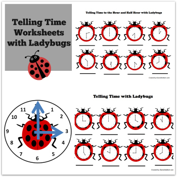 Telling Time Worksheets with Ladybugs - time worksheets