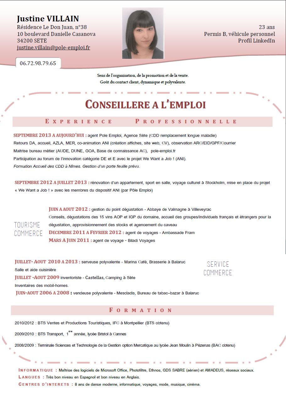 cv poste conseillere a l emploi