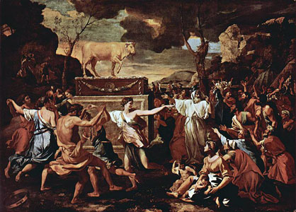 Painting of Israelites worshipping golden calf