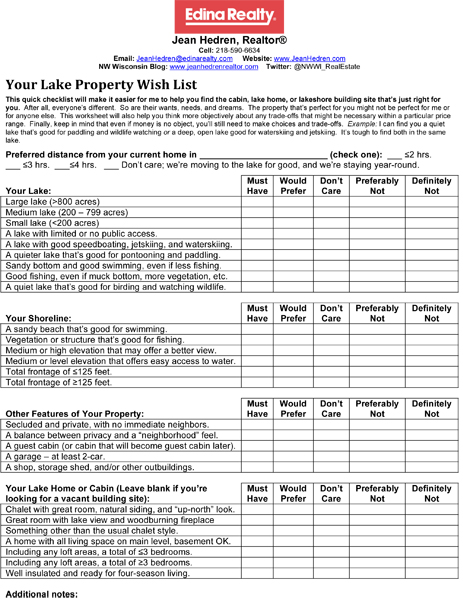 Your NW Wisconsin Lake Property Wish List Jean Hedren, Your - sample home buying checklist