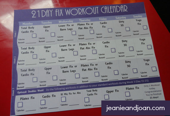 21 Day Fix Workout Calendar and 3 Week Exercise Calendar - workout calendar