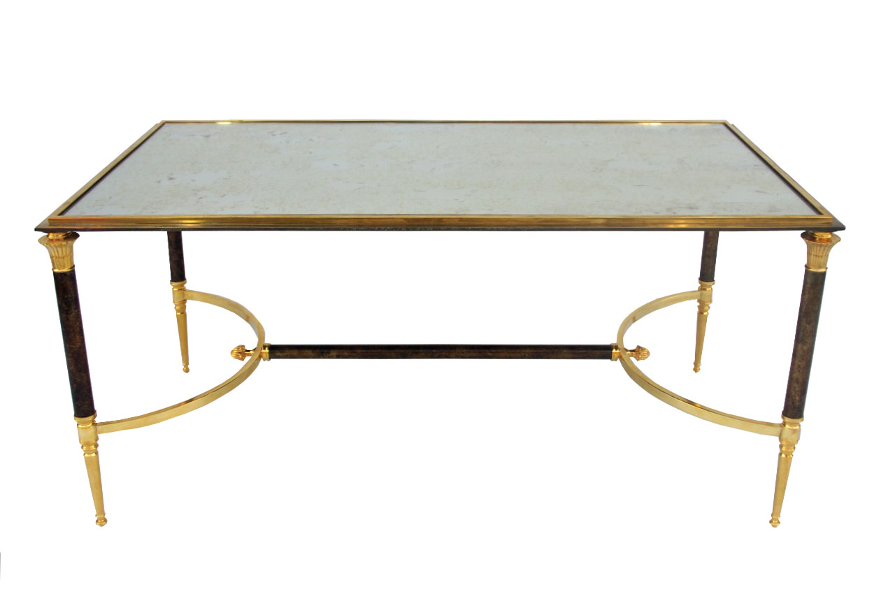 Table Basse En Metal Gilt And Patinated Metal Coffee Table From Maison Jansen 1970 S