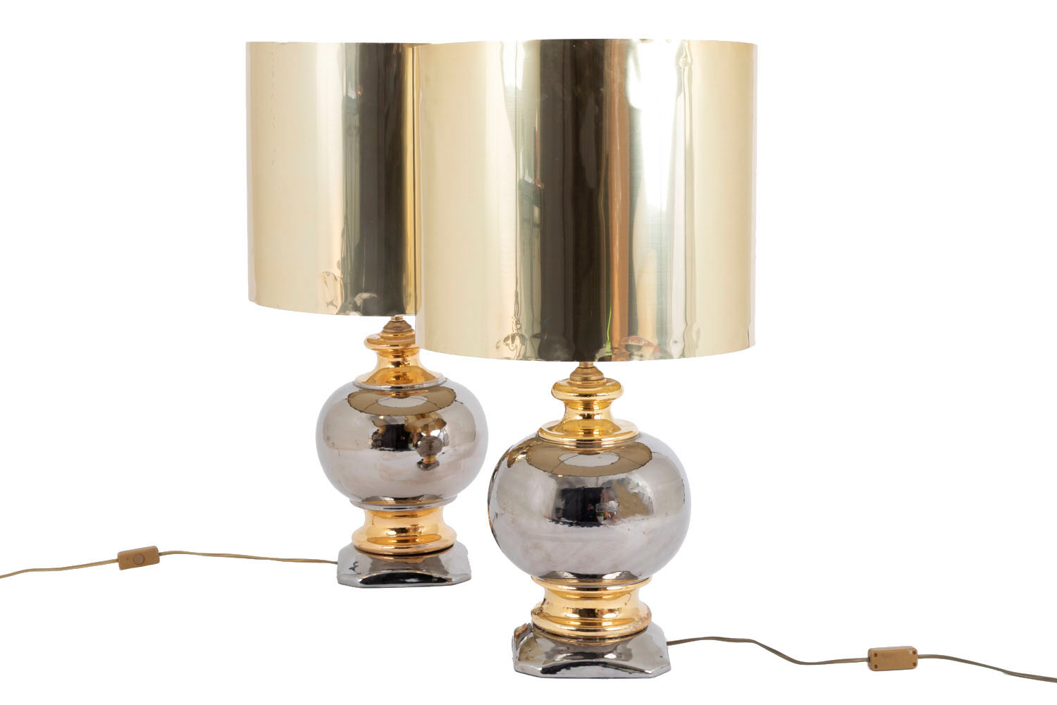 Luster Lampe Pair Of Gilt And Silver Luster Glazed Ceramic Ball Lamps Circa 1960