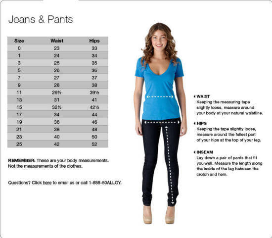 Truck Jeans Size Chart Jeans Hub
