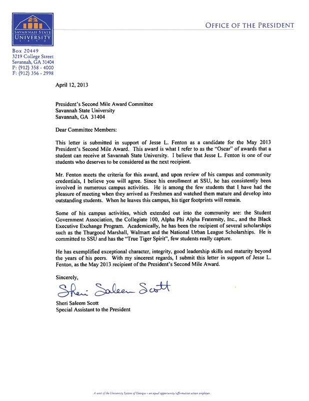 Letters of Recommendation - Jesse Fenton, MHA