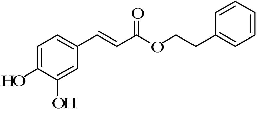 Chemical structure caffeic acid phenethyl ester (CAPE) Bee Propolis