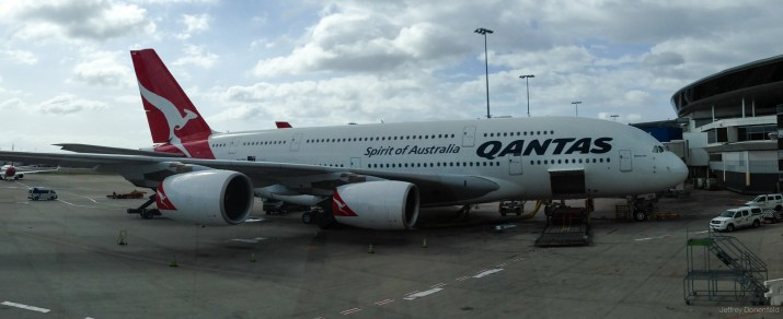 After flying DENver>San Francisco>Los Angeles, I flew on an Airbus A380 from Los Angeles USA to Sydney Australia. Then I flew on a Boeing 777-300ER from Sydney Australia to Christchurch New Zealand.
