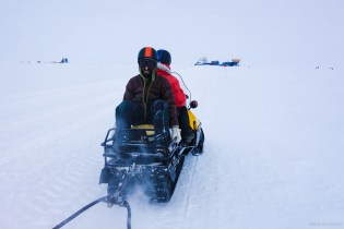 For further away science sites, and for hauling supplies, snowmobiles are used.