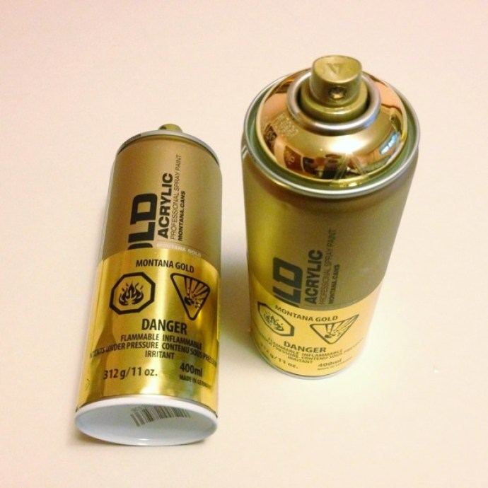 Gold and copper spray cans