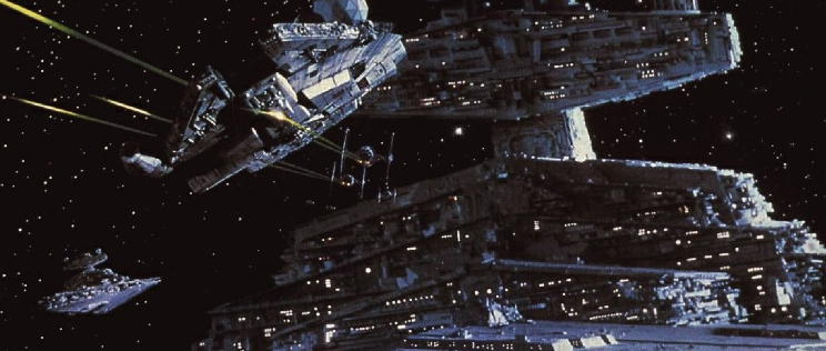 The Empire Strikes Back - Millennium Falcon being pursued by Star Destroyer