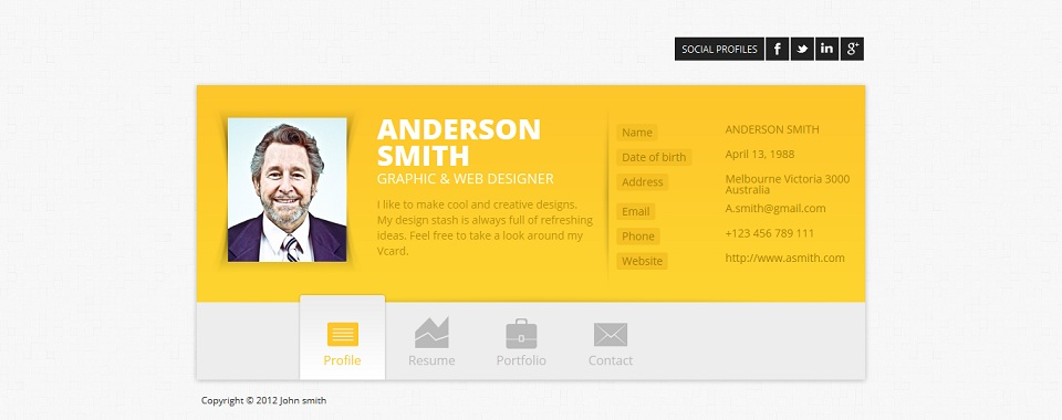 biopic responsive resume html5 template free download