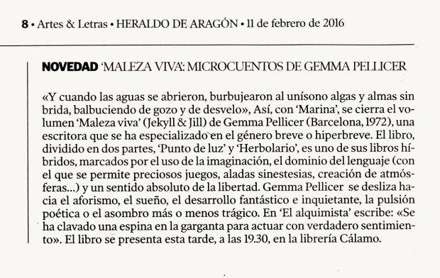 Maleza viva de Gemma Pellicer en Artes y Letras