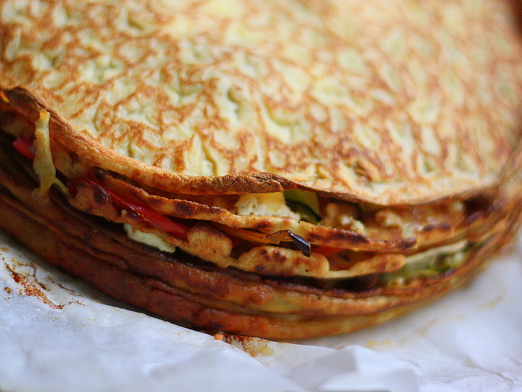 Roasted Vegetable Crepe Cake