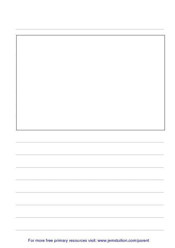 Lined Paper Large for Children 15cm with box for image - JEMS - lined paper pdf