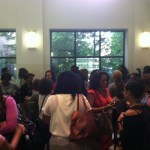Afterwards, Bloggers and panelists pour into the auditorium lobby for pics and chatter