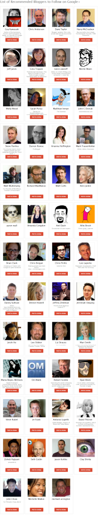 List of Recommended Bloggers to Follow on Google    Who to follow on Google Plus  Google  Suggested Users.