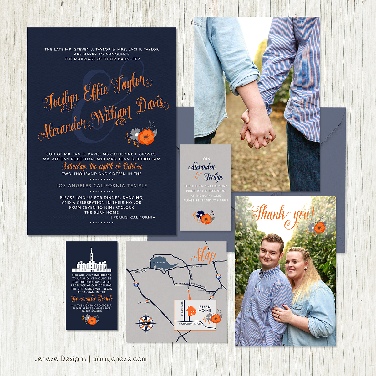 lds wedding lds wedding invitations We love this set designed for Jocilyn and Alexander The navy and orange are not traditional wedding colors but I just love that they did what they wanted