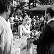 Laughing during the ceremony.