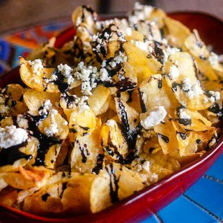 Kettle Chips with Blue Cheese and Truffle Oil