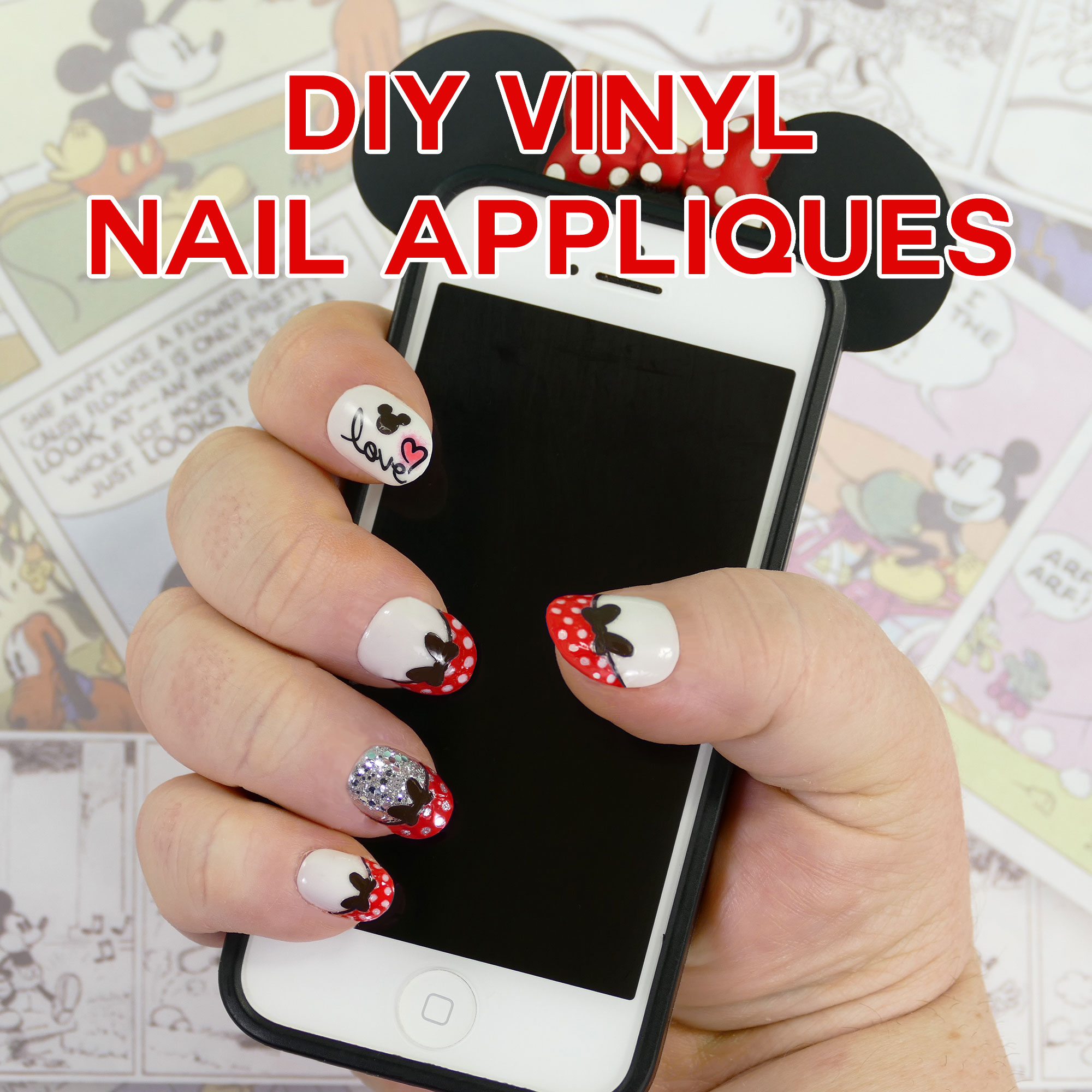 Diy Nail Desk Diy Minnie Mouse Nail Tips Vinyl Appliques Made On The