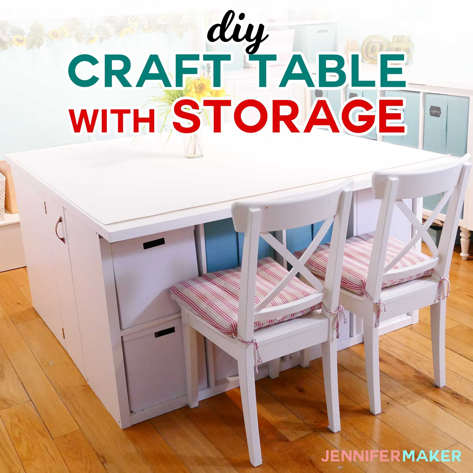 Ikea Box Holder Diy Craft Table With Storage My Ikea Hack Jennifer Maker