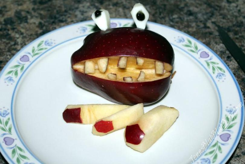Apple Monster Two Apple Halloween Snack Ideas The Kids Will Love