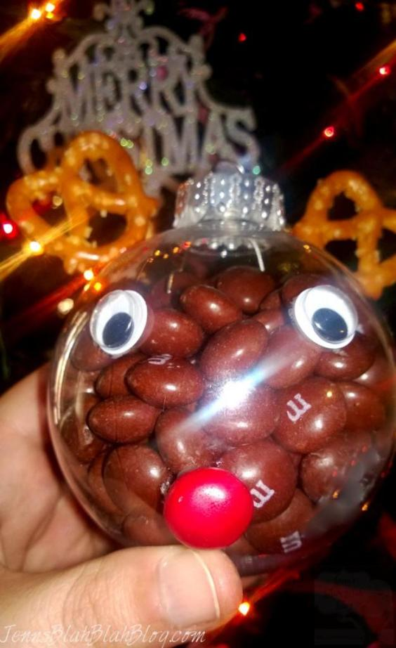 Rudolph M&M Christmas Decoration with Christmas Tree in background Sweet & Easy Decorations for Christmas Using Holiday M&Ms Easy Decorations