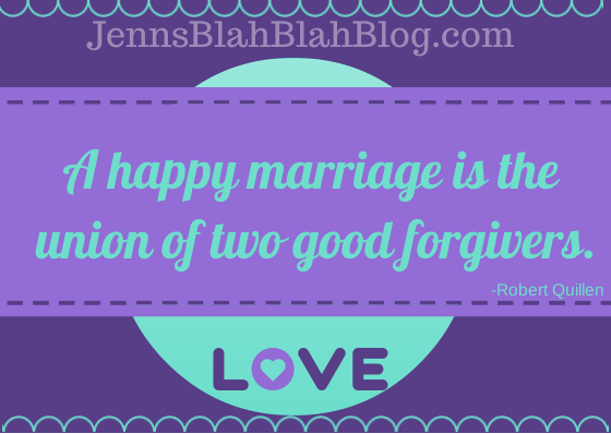 """Quote """"a happy marriage is the union of two good forgivers"""" written in blue with purple background 15 Tips To Keep Your Marriage Alive 