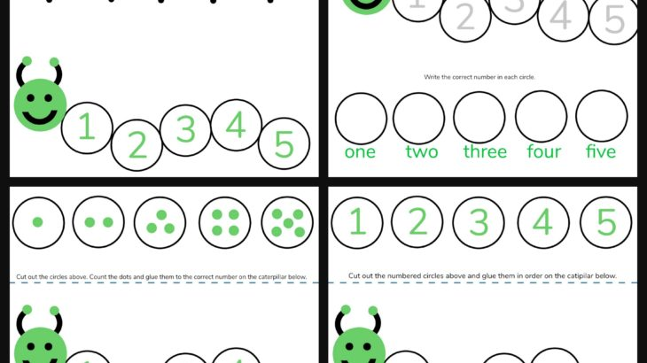 Caterpillar Math Free Printable Preschool Worksheets (Numbers 1 \u2013 5)