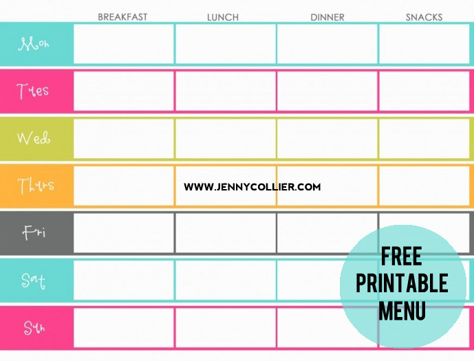 FREE menu to be printed » jenny collier blog