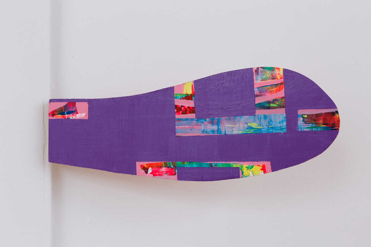 Chuck Nanney - mobile purple flipper cloud lingum, 2014, acrylic and copper leaf on plywood, brass hinge, 5 1/2 x 14 1/4 x 3/4 inches.