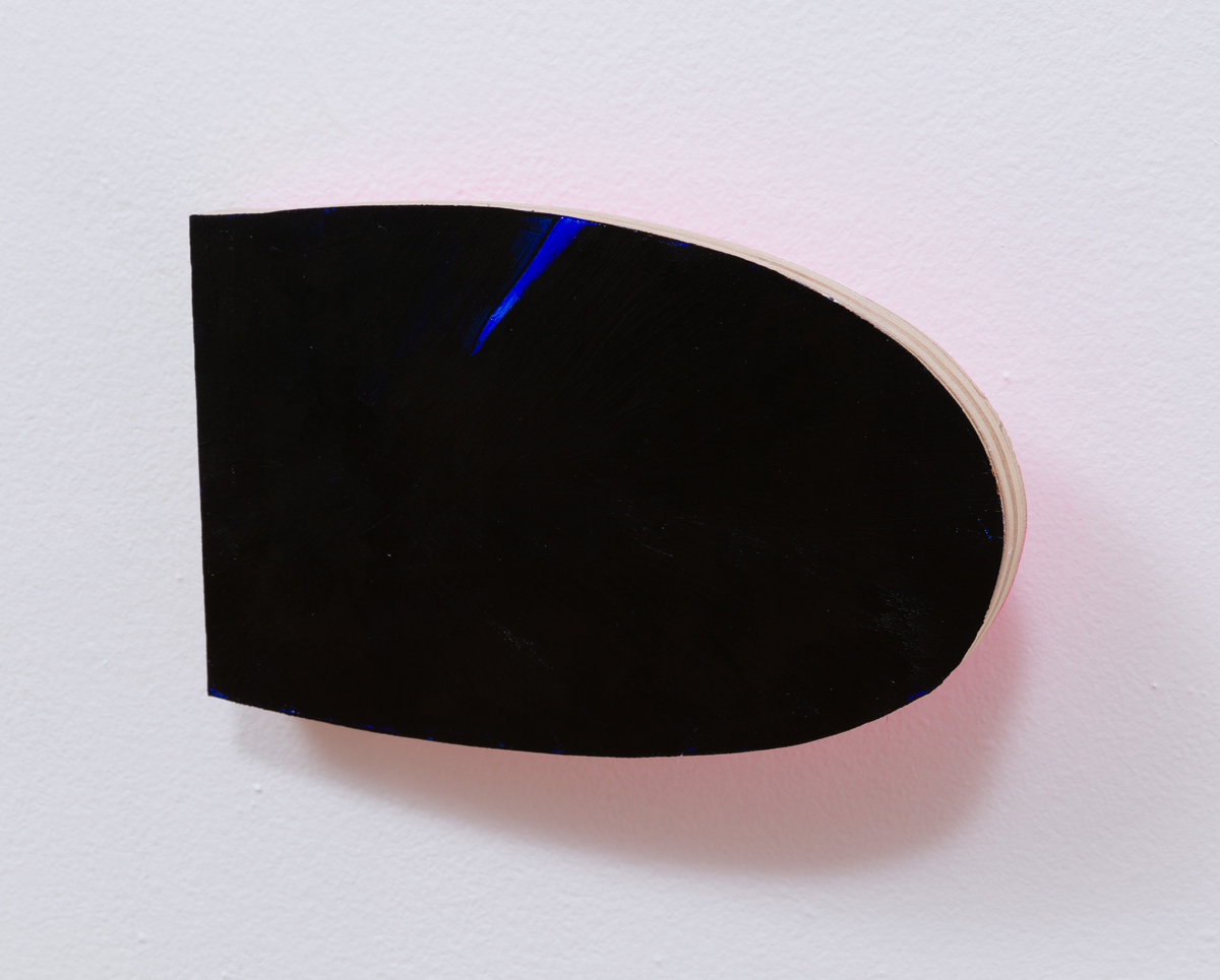 Chuck Nanney - mobile black nub (with blue streak), 2014, acrylic on plywood, zinc hinge, 5 x 8 x 3/4 inches
