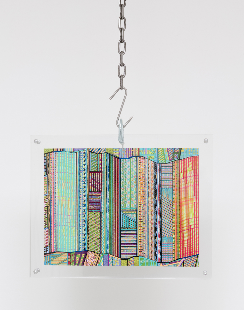 Max Hooper Schneider - Pattern Prison, 2012, colored marker, pen and enamel on paper, 9x 12 inches