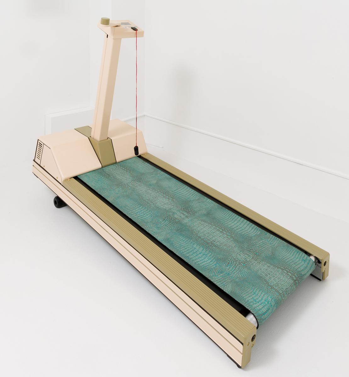 Max Hooper Schneider - Precor Crocodilian 9.1, 2014, modified Precor 9.1 treadmill, crocodile-embossed leather hide, 67