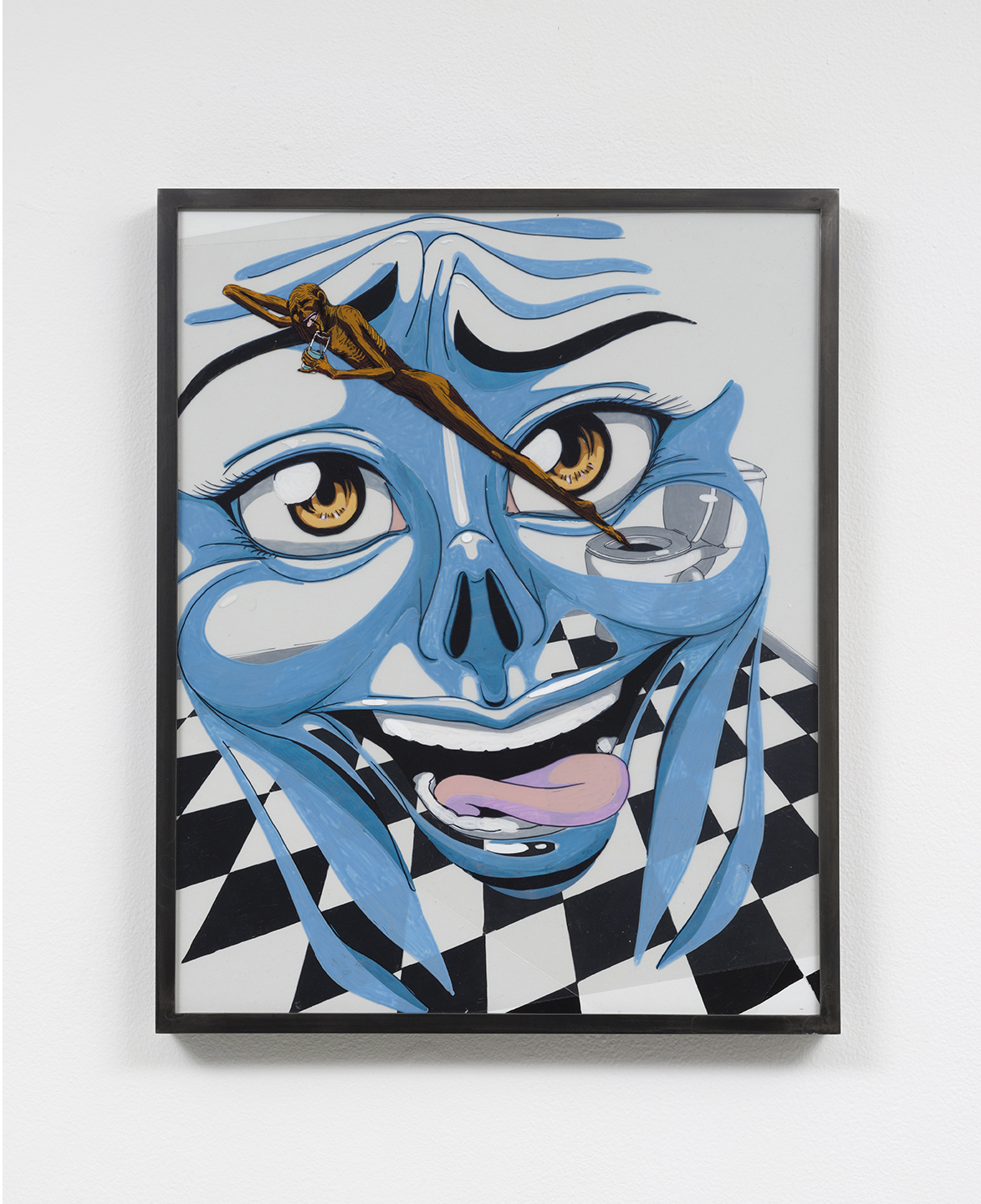 Julien Ceccaldi - Blue Face, 2016, Acrylic on acetate on board in aluminum frame, 16.75 x 21 inches