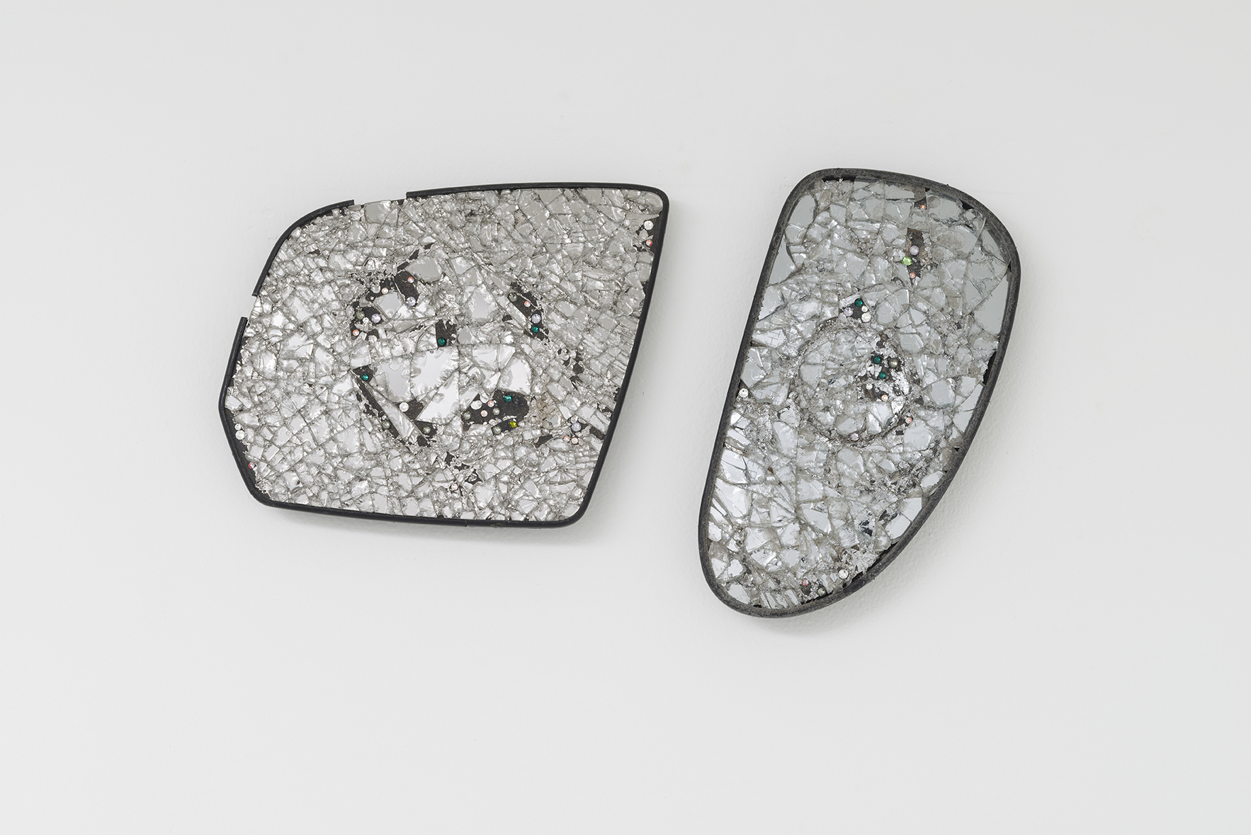 - Butt Model 176, 2015, rearview mirrors, crystals. 2 parts, 8 1/2 x 13 inches overall