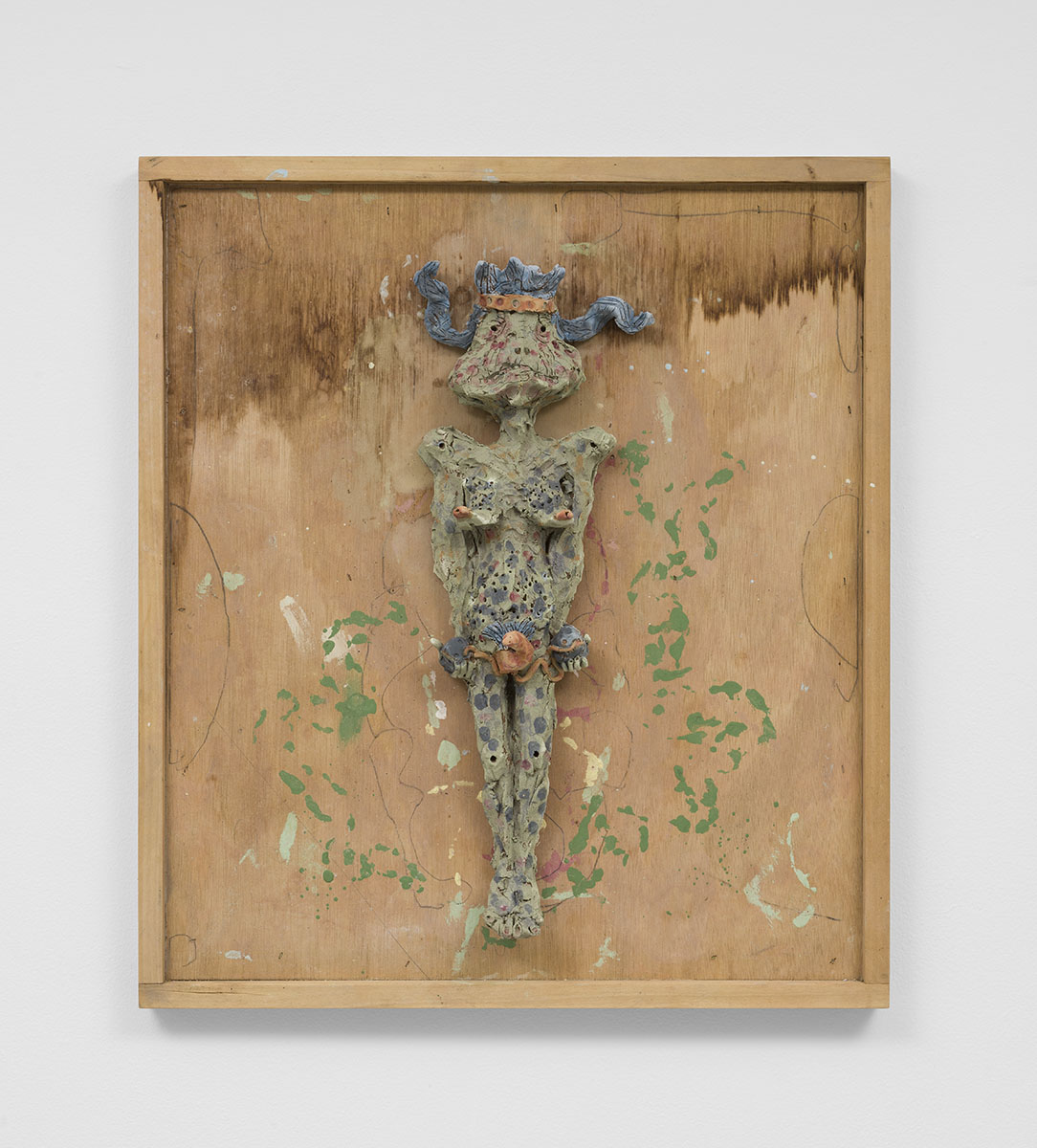 Richard Hawkins - Syphilitic Goddess, 2015, glazed ceramic in artist's frame, 25 ¾ x 22 ¾ x 4 ⅜ inches