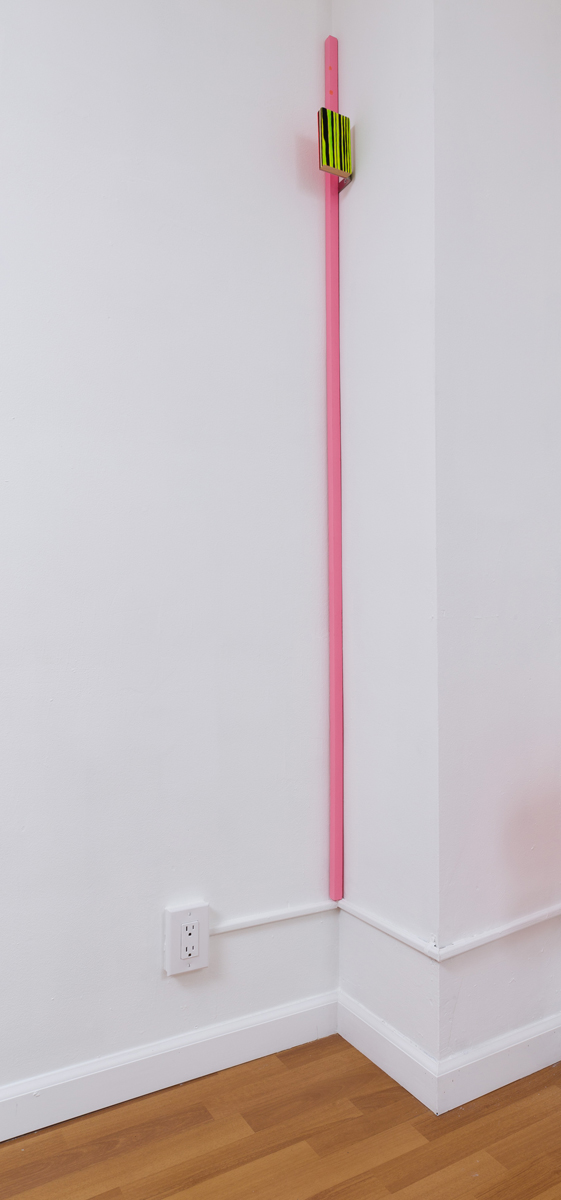 Chuck Nanney - pink corner composition proun, 2014, acrylic on wooden dowel, pine, zinc bracket, 72 1/8 x 3 x 3 3/4 inches