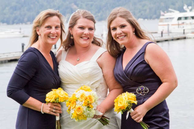 Yellow Bouquets with Navy Blue Dresses