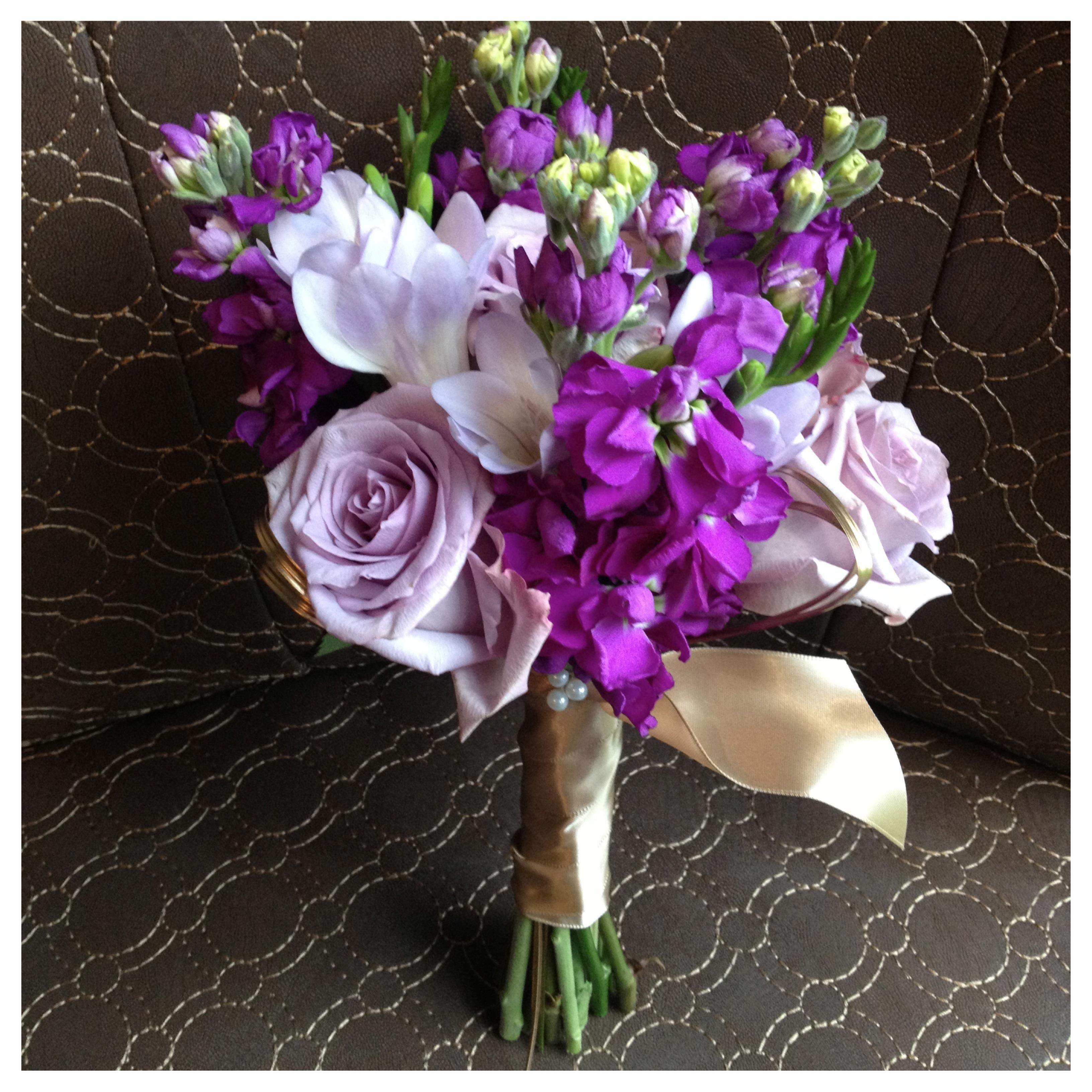 purple lavender ivory gold real wedding gig harbor wedding canterwood golf club purple and gold wedding Purple Lavender Bouquet