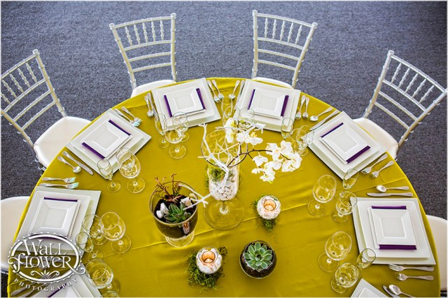 Acid Green, Eggplant, White & Silver Design by Jen's Blossoms | Photo By: Wallflower Photography