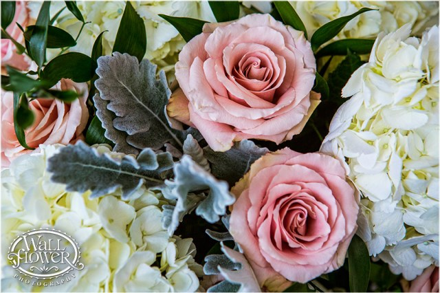 White Hydrangea, Dusty Miller, Light Pink Roses, and Ruscus   Photo by: Wallflower Photography