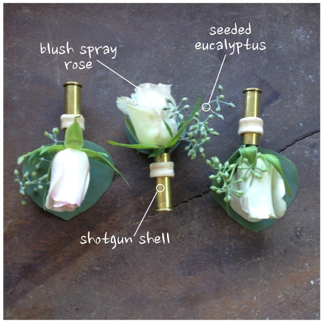 Spray Rose & Shotgun Shell Boutonniere by Jen's Blossoms