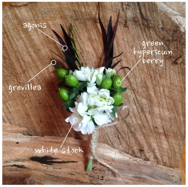 White Stock & Hypericum Berry Boutonniere by Jen's Blossoms