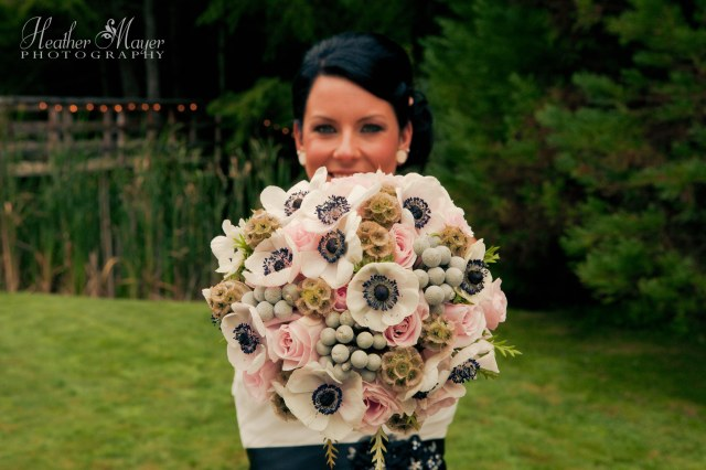 Bouquet of anemone, blush roses, scabiosa & silver brunia by Jen's Blossoms | photo by Heather Mayer Photography