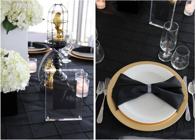 Black White & Gold Table Top Details