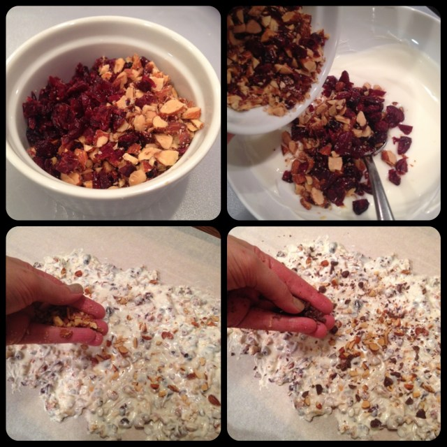 Cranberry Smoked Almond Bark Steps