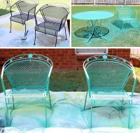 Chalk paint on metal outdoor furniture